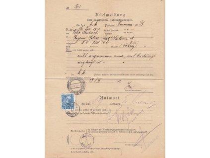 1912, DR Krumlov, formulář Rückmeldung, přeloženo
