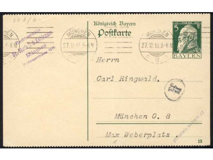 Bayern, 1913, DR München, dopisnice 5Pf Luitpold