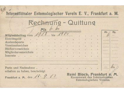 1913, DR Frankfurt, R-dobírka zaslaná do Prahy