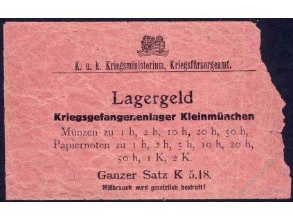 1914, Lagergeld, sáček od táborových mincí