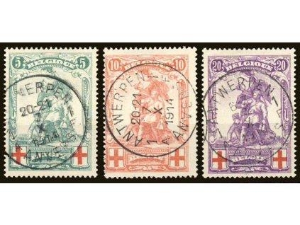 1914, 5-20C série Červený kříž, razítkované