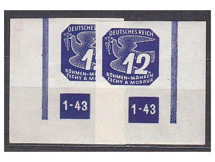 1943, 12h modrá, roh. kus s DČ1-43, L+P,  Nr.NV15, **