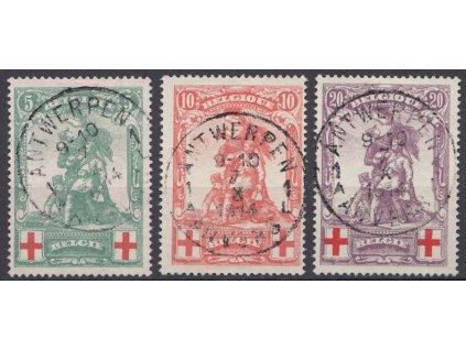 1914, 5-20C série Červený kříž, MiNr.104-6, razítkované