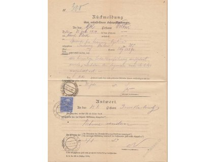 1914, DR Vsetín, formulář Rückmeldung, přeloženo