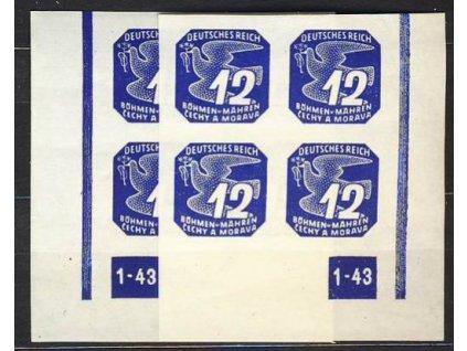 1943, 12h modrá, roh.4blok s DČ1-43, L+P
