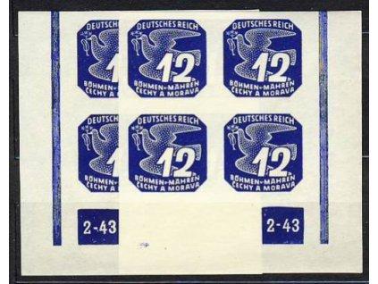 1943, 12h modrá, roh.4blok s DČ2-43, L+P