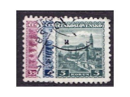 1932, 3.50-5Kč série Hrady, Nr.265-7, razítkované