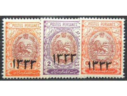 Irán, 1915, 1, 2 a 6Ch s přetiskem, * po nálepce