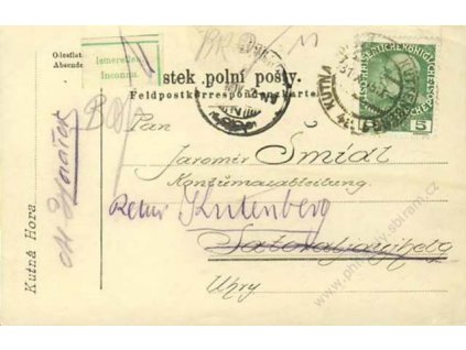 1915, DR Kutná Hora, lístek PP zasl. do Uher