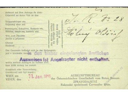 1915, DR Wien, II. díl lístku ČK, zaslané do Čech