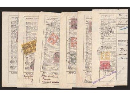 1915, DR Fiume, 6 ks útržků frankovaných telegramů