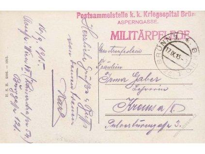 1915, Kriegespital Brünn, cenzura, pohlednice, prošlé