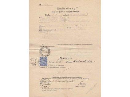 1915, DR Bodenbach, formulář Rückmeldung, přeloženo