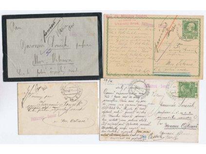 1915, Vojenské vězení, , 4 ks korespondence, prošlé