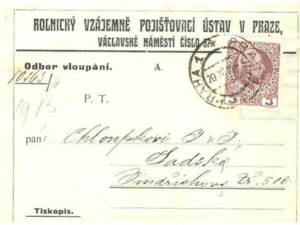 1916, Praha, skládaný dopis, několik skvrnek