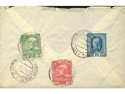 1916, Král. Vinohrady, R-dopis, horší jakost