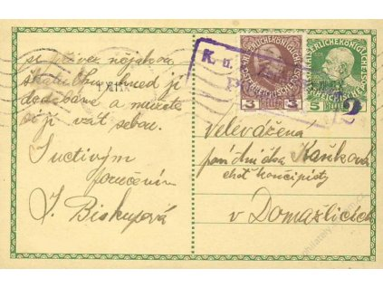 1916, DR Prag, dopisnice 5H Franc Josef