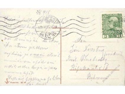 1916, DR Budapest, pohlednice vyfr. zn. 5H Franc