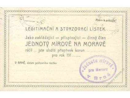 1916, DR Brno, tiskopis, spolkový lístek