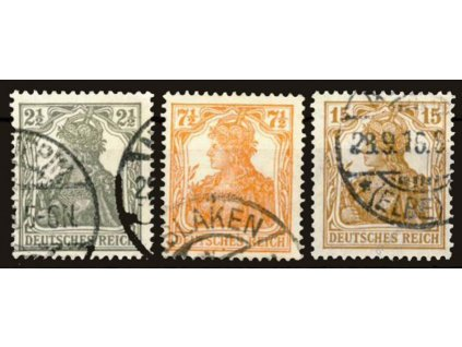 1916, 2 1/2-15Pf série Germanie, razítkované
