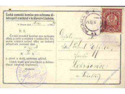 1917, DR Praha, poděkování za dar, pohlednice