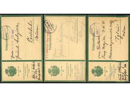 1917, K.D.Feldpost, 3 ks lístků PP zasl. na Moravu