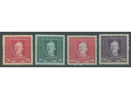 1917, 2-10Kr Karel, MiNr.138-41, * po nálepce