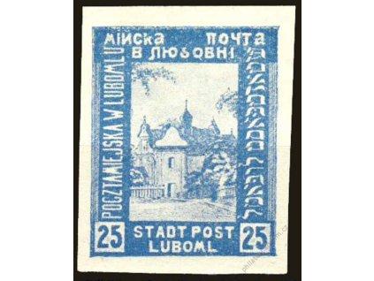 1918, Luboml, 25H Kostel, archový obtisk, *