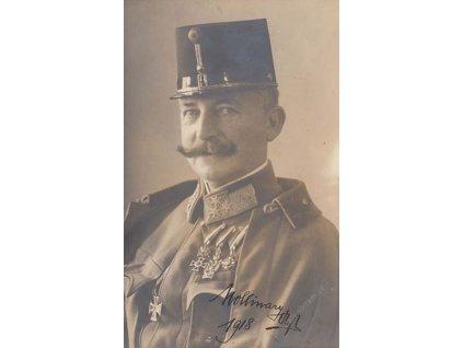 1918, generál Molinary, fotopohlednice s podpisem
