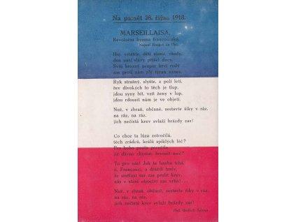 1918, Marseillaisa, Na paměť 28. října 1918, pohlednice
