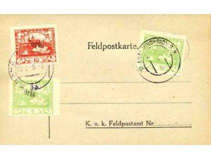 1919, Porto, lístek PP se 3 známkami