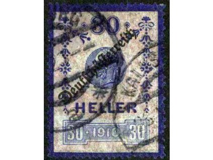 1919, kolek 30H s přetiskem použitý jako známka