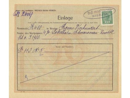 1919, Einlage, formulář, ohnutý růžek, A4