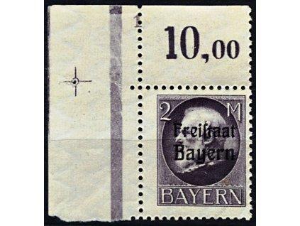 Bayern, 1919, 2M fialová, DZ 1, * po nálepce