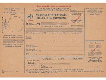 1919, poukázka Mezinárodní, přetisková, neprošlé, dv