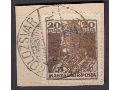 1919, Neu-Rumänien, 20B Karel, zlatý přetisk