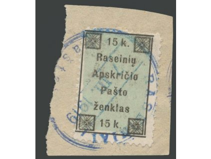 Lietuva, Raseiniai, 1919, 15K MiNr.1, výstřižek