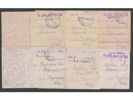 ČSPP 1919, 5 kusů pohlednic odeslaných z Čs pěší pluk