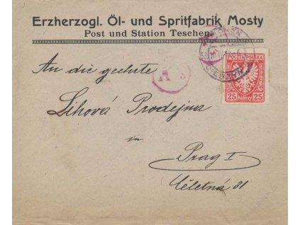 1919, DR Teschen, firemní dopis vyfr. zn. 25H Znak