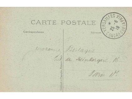 1919, DR Versailies, Congres de Paix, zasláno do Paříže