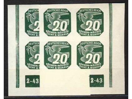 1943, 20h zelená, roh.4blok s DČ2-43, L+P
