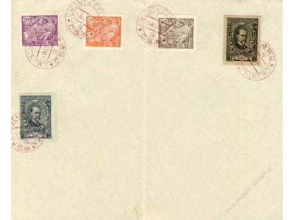 1920, Cmunt v Čechách, pamětní list s 5 razítky