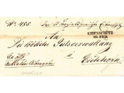 Eirenschutz, skládaný dopis z roku 1851, stopy pošt. provozu