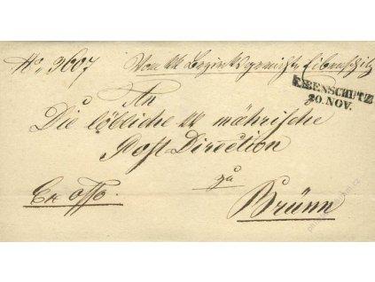 Elbenschutz, skládaný dopis z roku 1851