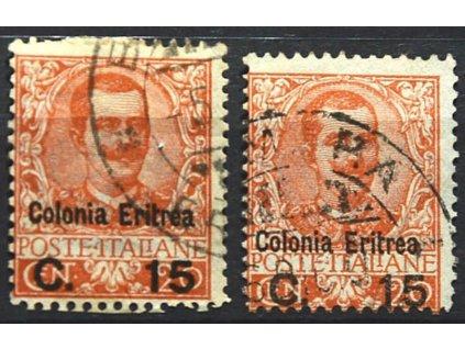 Eritrea, 1905, 15C/20C Emanuel, 2 ks, razítkované