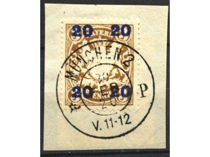 Bayern, 1920, 20/3Pf Znak, 2 ks výstřižků - typ I a II