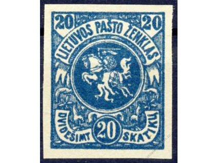 Lietuvos, 1920, 20Sk Znak, nezoubkované, (*)