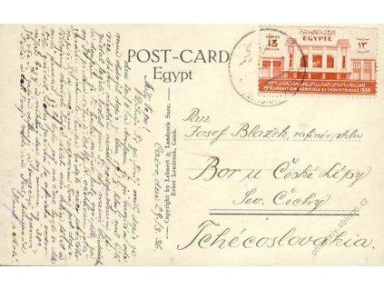 Egypt, 1936, DR Cairo, pohlednice zasl. do ČSR