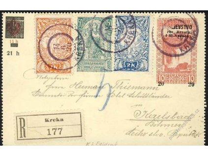 1920, DR Kreka, přední strana R-zálepky, nedotisk
