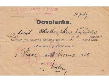 1920, Č.S. Arm. sbor z Itálie, Transportní rota v Praze, Dovolenka